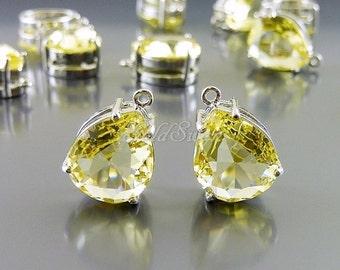 2 pcs lemon yellow faceted teardrop glass pendants, yellow lemon crystal glass charms, gifts 5067R-LM lemon