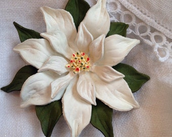 Poinsetta Brooch Leather from Canada