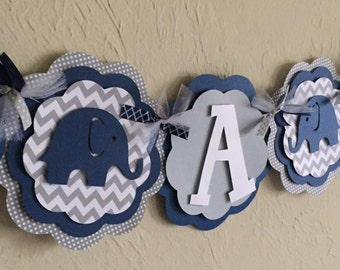 Elephant Chevron Stripe and Polka Dot ITS A BOY or NAME Banner Navy Blue, and Gray Baby Shower Birthday Party Decorations Banner