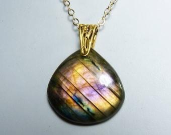 Purple Flash Labradorite Necklace, Natural Labradorite Pendant, Rare Coppery Orange, Purple, Violet, Lavender, and Pink Flash, Gold Chain