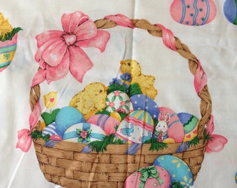 Easter Fabric Panel - Spring Fever Fabric Appliqués - Bright Pastels- Bunnies Duckies and Easter Eggs - Cotton Fabric