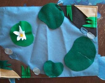 Child felt and fabric pond play mat