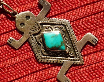 Southwest Sterling Silver Turquoise Lizard / Turtle Pendant necklace