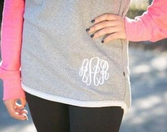 Ladies or Girls Monogram Raglan Sweatshirt Baseball Style Monogrammed Fleece Pullover with Embroidered Monogram
