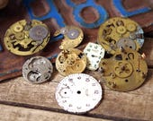 Old Pocket Watch Parts Brass Gears Cogs Metal Faces