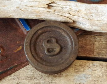 Antique Cast Iron 8oz Weight - 8 ounce Farm Scale Weight