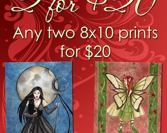 Set of 2 Prints, Fantasy Art, Fairy Pictures, 8x10 Print, Wall Art, Dragon Art, Giclee Print, Fairy Art, Pick Your Prints, Pagan Art