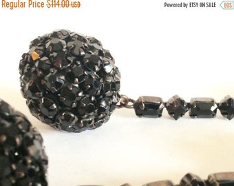 Scorpio Birthday SALE Beautiful Designer KJL Prong Set Black Crystal Rhinestone Vintage Earrings