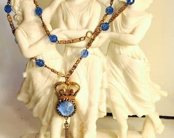 SALE CLEARNCE SALE Beautiful Art Deco Gold Crown Blue Crystal Open Back Vintage Necklace