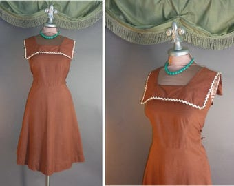 50s dress 1950s vintage GINGERBREAD GIRL brown rick rack trim cotton house day sun dress