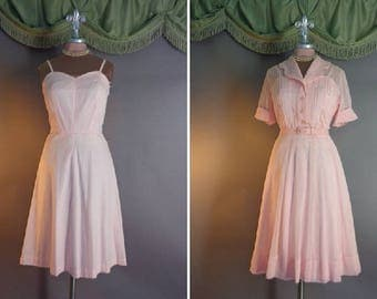 50s dress 1950s vintage The PERFECT 50s PINK SHEER 2pc cotton slip and voile Nelly Don dress
