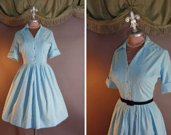 1950s dress vintage 50s AQUA DETAILED SHIRTWAIST Blue cotton fit and flare full skirt day dress