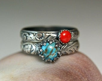 Copper Turquoise Stacking Set, Sterling Silver Red Coral Ring, Bohemian Style Jewelry, Natural Stone Ring