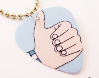 Guitar Pick Necklace Hand Symbols Thumbs Up, Rock On, Pinky, L Symbol, Your Choice Five 5 Designs