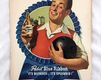 """Vintage 1947 Pabst Blue Ribbon Beer Ad. Old Beer Advertisement. """"Right Down My Alley"""" Retro Beer Advertising. Reverse: Green Giant Canned"""