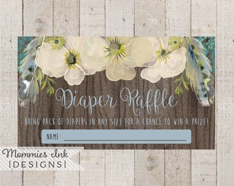 Spring Diaper Raffle Ticket, Wood Grain Boho Chic Floral Feathers Diaper Raffle, Watercolor Poppy Diaper Raffle, Boho Diaper Raffle, Baby
