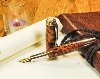Fountain Pen Handmade, Platinum and Gold trim, Exhibition Grade Thuya Burlwood  By ASHWoodshops, Heirloom Quality Gift, Corporate Executive