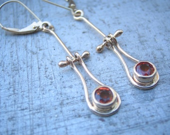 Pomegranate Sapphire and 14k Yellow Gold Hinged Earrings with Lever Back Ear Wires