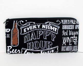 Zippered Pencil Pouch, Happy Hour, Beer on Black Chalkboard, Zipper Bag
