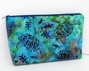 Zippered Cosmetic Bag, Make up Bag, Sea Turtle Reef Batik
