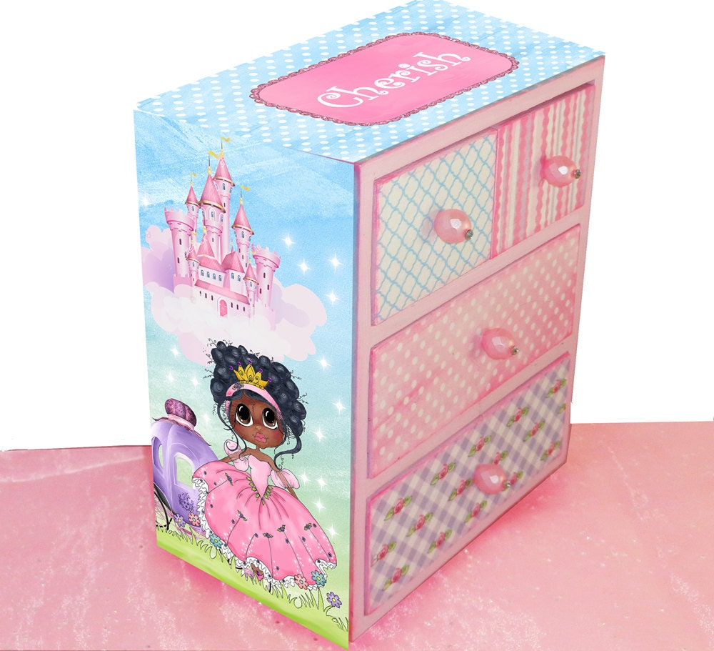 Girls jewelry box big eyes african american princess for Girls large jewelry box