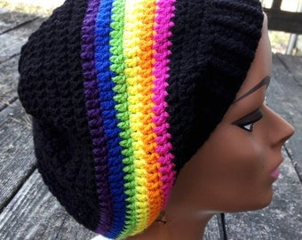 Black pink rainbow slouch beanie hat