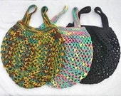 Netted Tote Bags For Market Beach Shopping 100% Cotton Handmade Crocheted