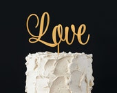 "Love Wedding Cake Topper. 1/8"" thick. Bridal Shower Cake Topper Anniversary Cake Topper Wedding Cake Topper Baby Cake Topper Shower Adoption"