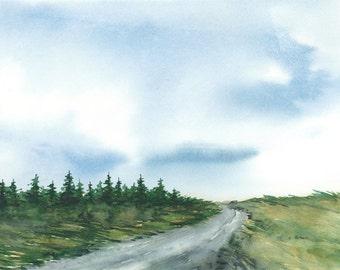 Original Watercolor Painting Landscape 8 x 10