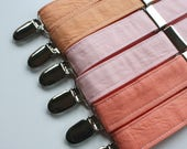 Little and Big Guy SUSPENDERS - Spring Easter Solids - PEACH - (Newborn-Adult) - Baby Boy Toddler Teen Man