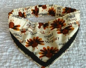 "Pet Bandana, Dog Scrunchie, Dog Scarf, Gobble Wobble Turkey Fancy Bandanchy with black gimp trim - Size XL: 18"" to 20"" neck"
