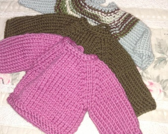 Knitted cardigan for 12 inch Waldorf doll