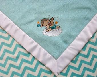 Baby Blanket Aqua Fleece  White and Aqua Chevron Minky with Teddy Bear Ready to Ship