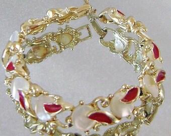 CHRISTMAS SALE Vintage Bracelet Mother of Pearl and Red Enamel