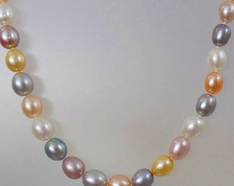 ON SALE Vintage Multi Color Freshwater Pearl Necklace.  Sterling Silver Clasp. Pink, White, Yellow, Gray, Purple Genuine Pearls.
