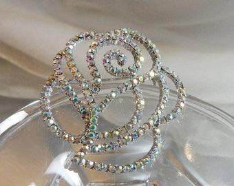 SALE Vintage Rhinestone Rose Brooch. Aurora Borealis AB Rhinestones Flower Pin.