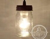 Mason Jar PENDANT Light New Pint - Flush Mount Ceiling Lighting Fixture Fan Farmhouse Chandelier Pendant Track Ktchen Pantry by LampGoods