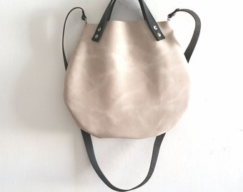 Beige Nude Leather basket hand bag ,Cross-body Bag, Every day leather bag