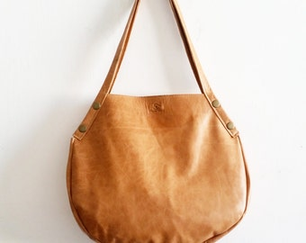 Leather tote - Every day bag - Women bag - CAMEL