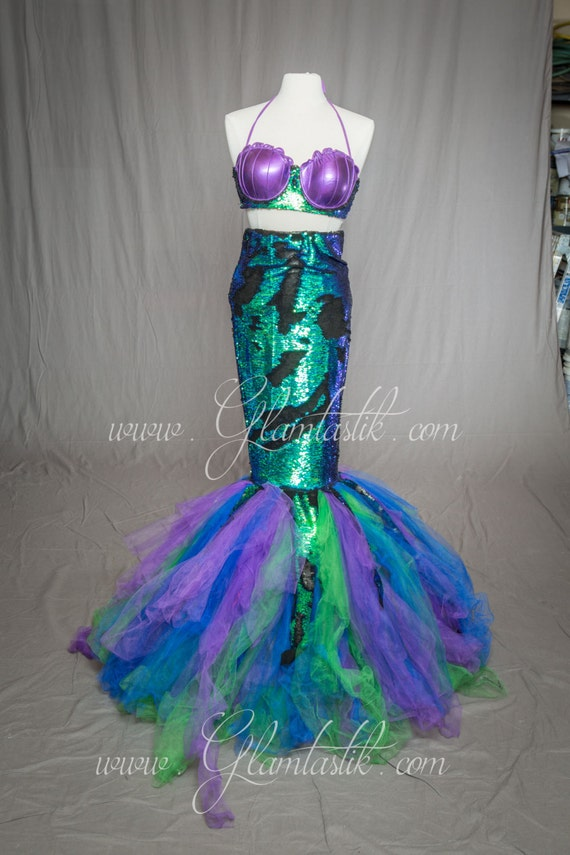 Ready to ship size extra small sequened green iridescent Mermaid Burlesque style costume two piece Corset dress