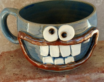 Stoneware Soup Mug in Blue. Spring Chili Crock Cereal Bowl Accident Prone Face Mug Handmade Ceramic Pottery Bowls with Handle Sense of Humor