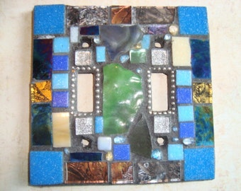 Crazy Quilt MOSAIC LIGHT SWITCH Plate Cover - Double, Wall Plate, Wall Art, Stained Glass