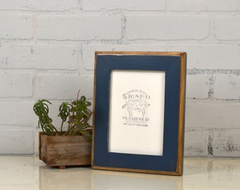 "5x7"" Picture Frame in 2-Tone Style with Vintage Navy Blue Finish - IN STOCK - Same Day Shipping - 5 x 7 Photo Frame Dark Blue"