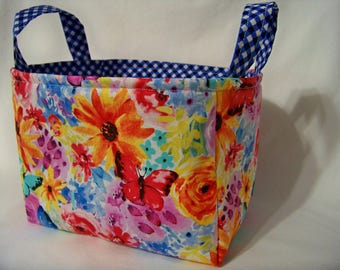 PK Fabric Basket in Big Bang Blooms - Garden Party Collection - Storage Basket - Diaper Caddy - Ready To Ship - Reversible