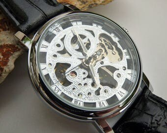 Silvertone Mechanical Wrist Watch with black leather wristband - Unisex watch - Steampunk watch - Item MWA385