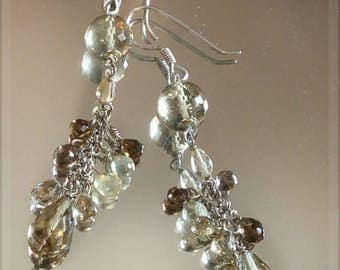 Faceted Natural Lemon-Smoky Quartz and Sterling Silver Dangle Cluster Earrings- High gem quality