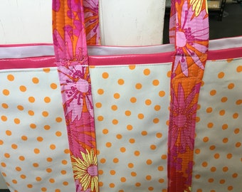 Sizzling Summer--Large retro tangerine polka dot/pink striped oilcloth tote bag