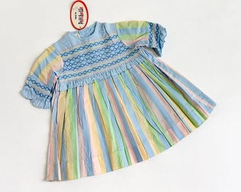 """Vintage 1960s Girls Size 2 A-Line Pastel Delight Dress by Pettibelle Deadstock / b22 L18"""" / Striped Pastel Embroidered Bodice"""