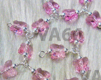 Pink 925 Sterling Silver Swarovski Butterfly Crystal Charm Bracelet Wire Wrapped 12 Colours Custom Made Bridal, Bridesmaids, mob, birthday