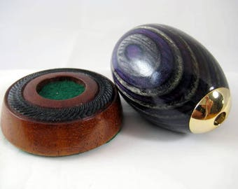 Kaleidoscope Purple Color Grain Wood And Black Walnut Base